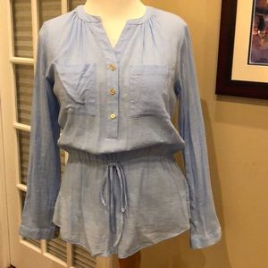MICHAEL KORS Blue cinch waist blouse Size Med NWOT